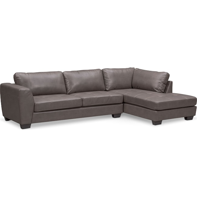 Santana 2 Piece Sectional With Right Facing Chaise Gray