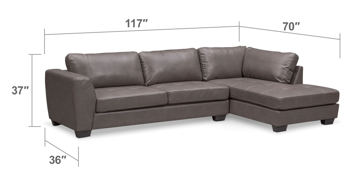 Living Room Furniture - Santana 2-Piece Sectional with Right-Facing Chaise - Gray