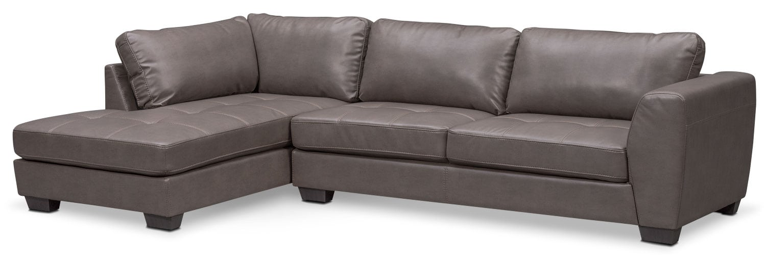 Living Room Furniture - Santana 2-Piece Sectional with Left-Facing Chaise - Gray  sc 1 st  Value City Furniture : 2 piece sectional sofa with chaise - Sectionals, Sofas & Couches