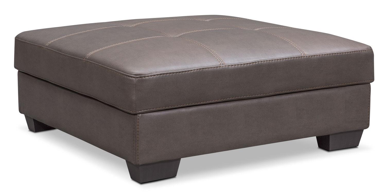 Living Room Furniture - Santana Storage Ottoman - Gray