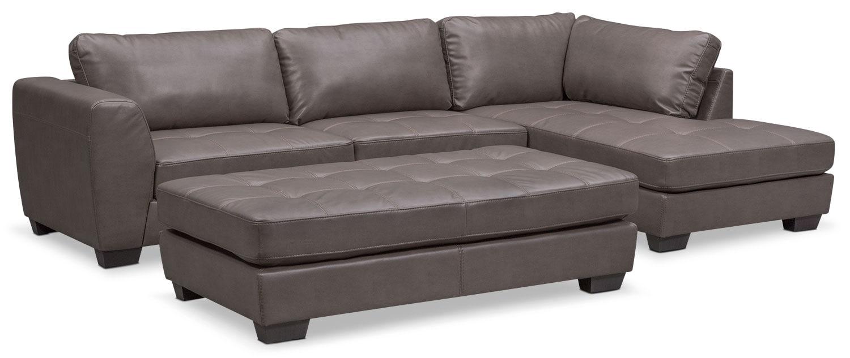 Santana 3 Piece Sectional Gray Value City Furniture