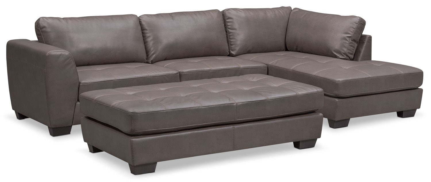 Living Room Furniture - Santana 2-Piece Sectional with Right-Facing Chaise and Cocktail Ottoman - Gray