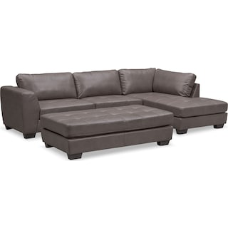 Santana 2-Piece Sectional with Chaise and Cocktail Ottoman Set