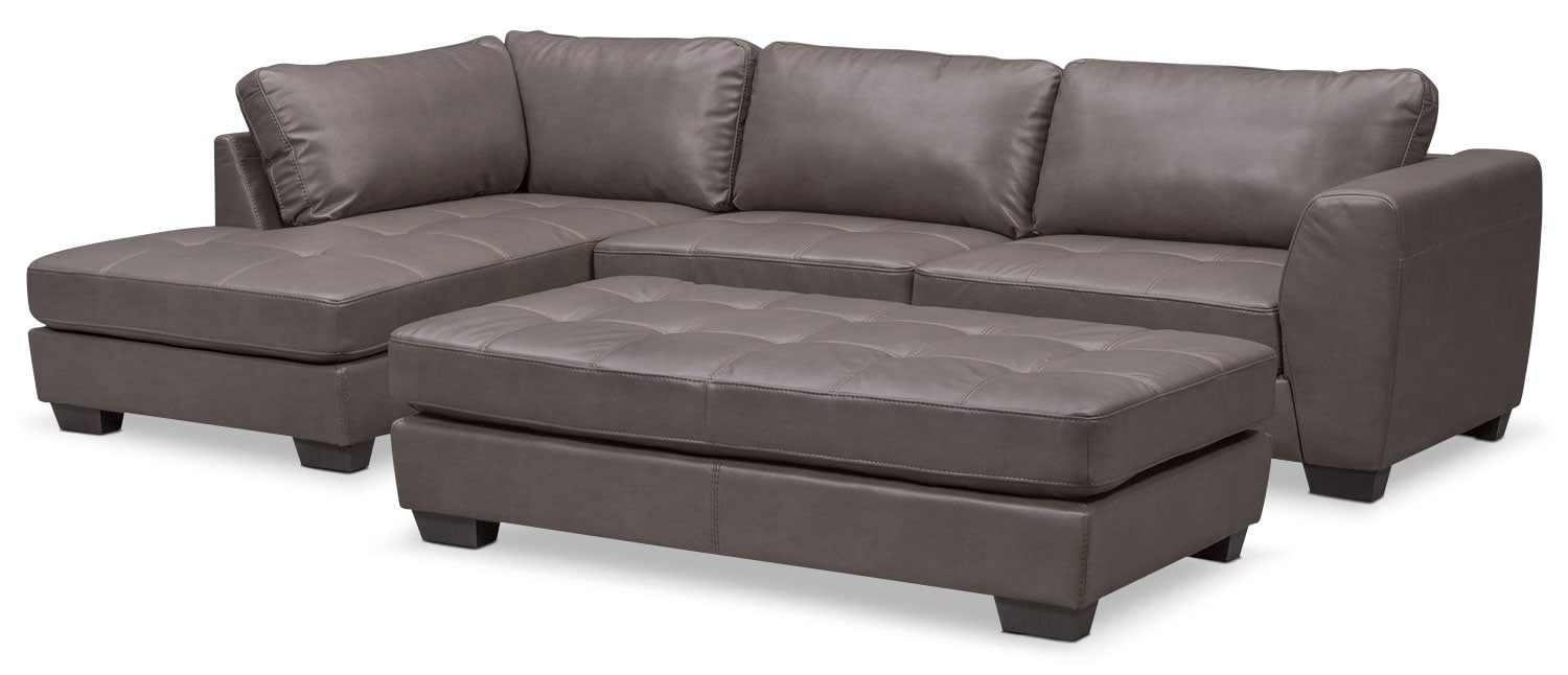 Santana 4 Piece Sectional With Right Facing Chaise Gray