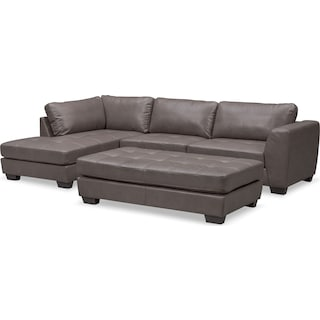 Santana 2-Piece Sectional with Left-Facing Chaise and Cocktail Ottoman Set - Gray