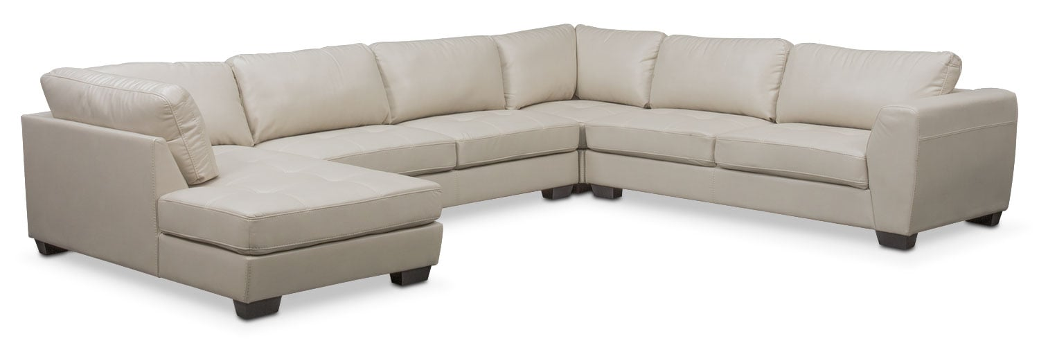 Living Room Furniture - Santana 4-Piece Sectional with Left-Facing Chaise - Ivory