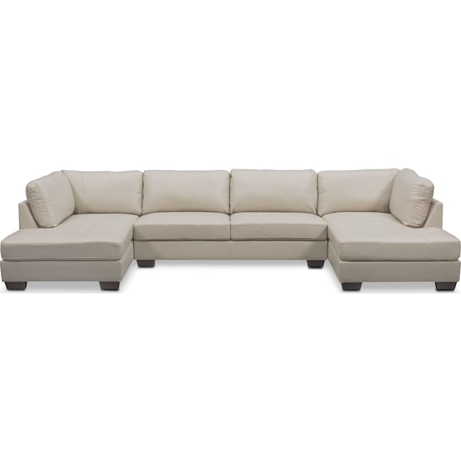 Living Room Furniture - Santana 3-Piece Sectional - Ivory