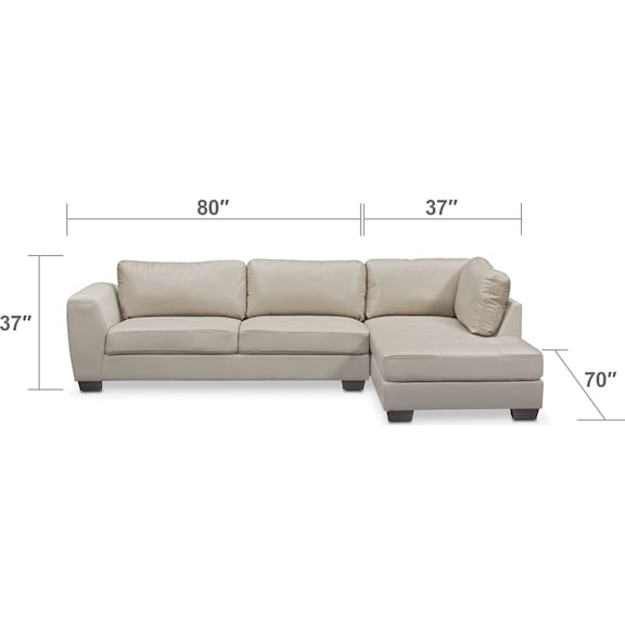 Living Room Furniture - Santana 2-Piece Sectional with Right-Facing Chaise - Ivory