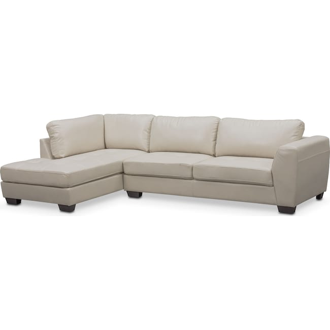 Living Room Furniture - Santana 2-Piece Sectional with Left-Facing Chaise - Ivory