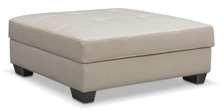 Living Room Furniture - Santana Storage Ottoman - Ivory