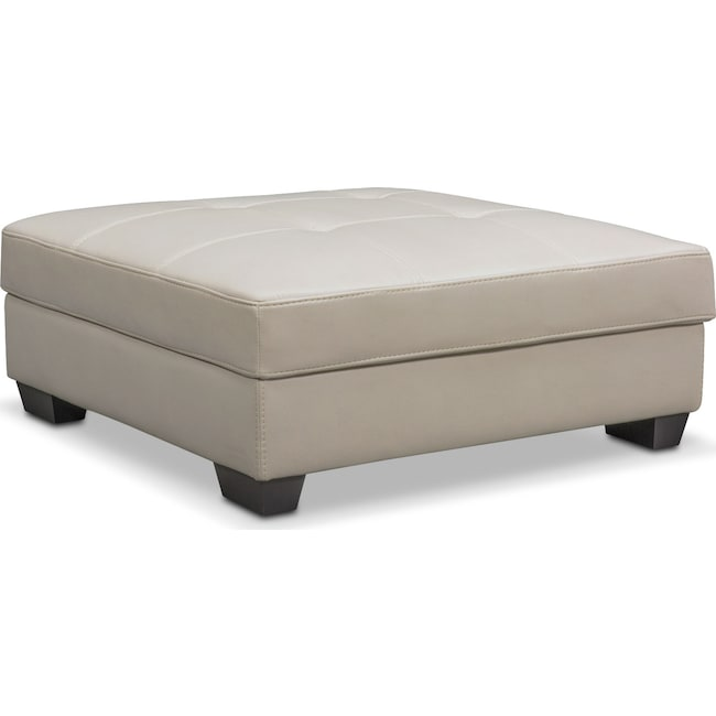 Living Room Furniture - Santana Storage Ottoman - Ivory