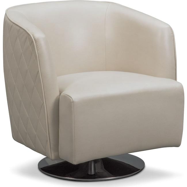 Living Room Furniture - Santana Swivel Chair - Ivory