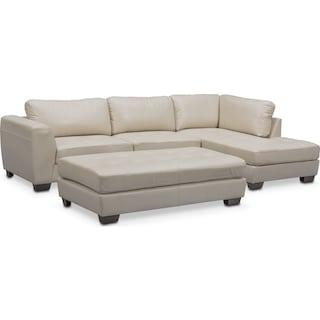 Santana 2-Piece Sectional with Right-Facing Chaise and Cocktail Ottoman Set - Ivory