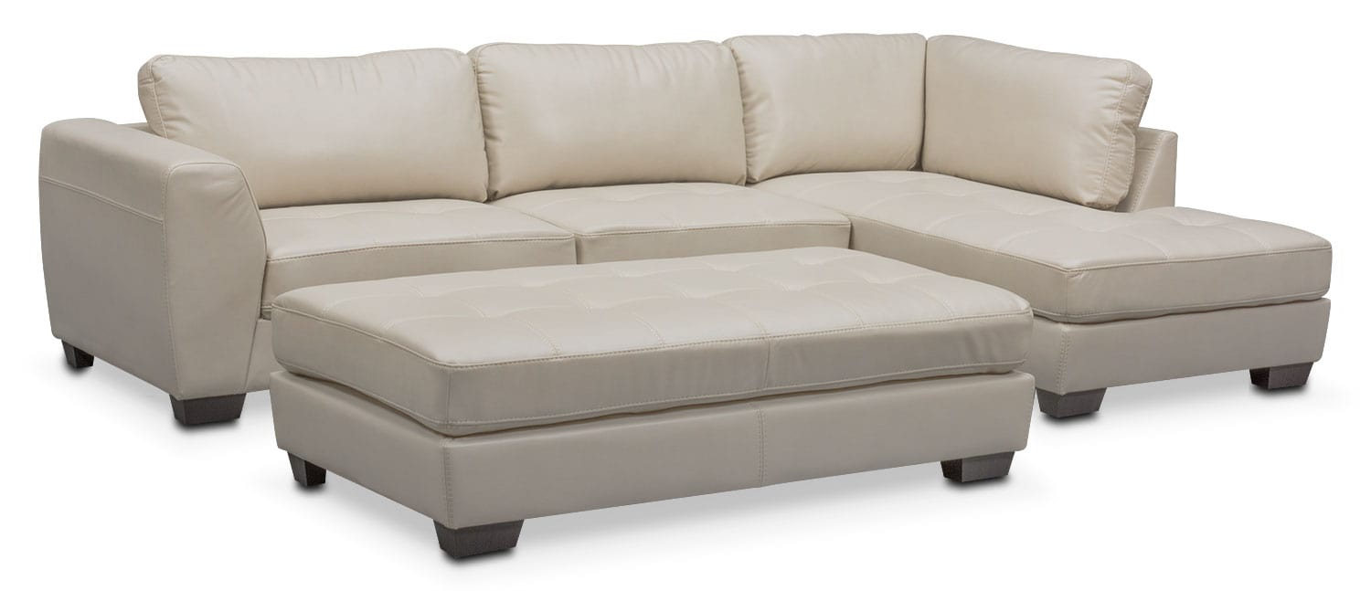 Living Room Furniture - Santana 2-Piece Sectional with Right-Facing Chaise and Cocktail  sc 1 st  Value City Furniture : chaise with ottoman - Sectionals, Sofas & Couches