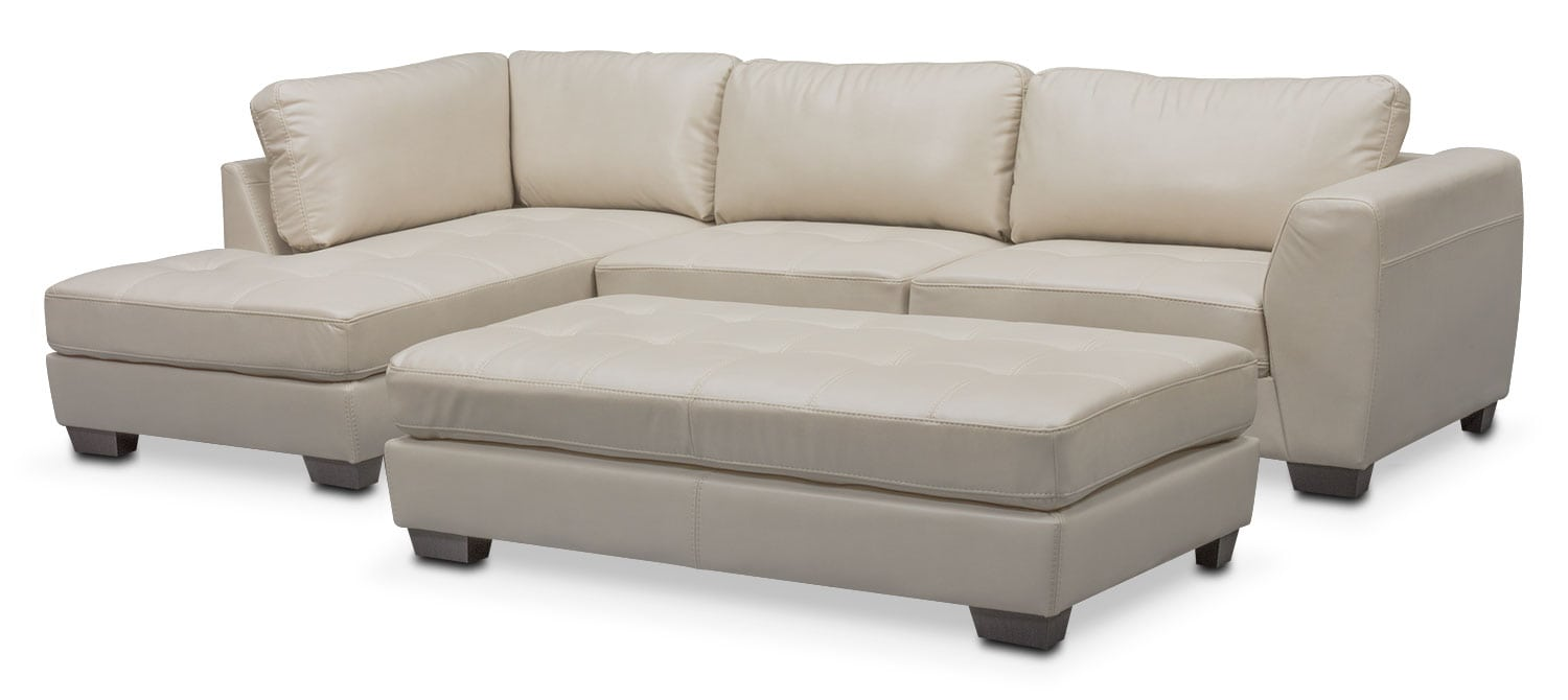Living Room Furniture - Santana 2-Piece Sectional with Left-Facing Chaise Plus FREE Cocktail Ottoman - Ivory