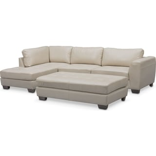 Santana 2-Piece Sectional with Left-Facing Chaise and Cocktail Ottoman Set - Ivory