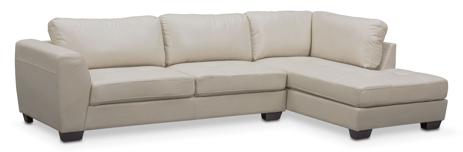 Living Room Furniture - Santana 2-Piece Sectional with Right-Facing Chaise - Ivory  sc 1 st  Value City Furniture : value city sectional - Sectionals, Sofas & Couches
