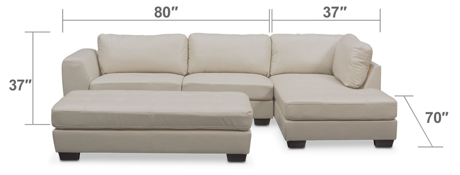 Living Room Furniture - Santana 2-Piece Sectional with Right-Facing Chaise Plus FREE Cocktail Ottoman - Ivory