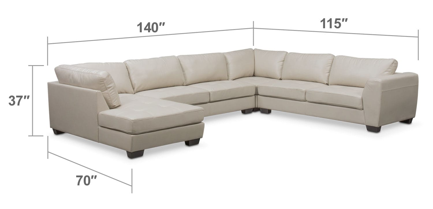 Santana 4 Piece Sectional with Left Facing Chaise Ivory