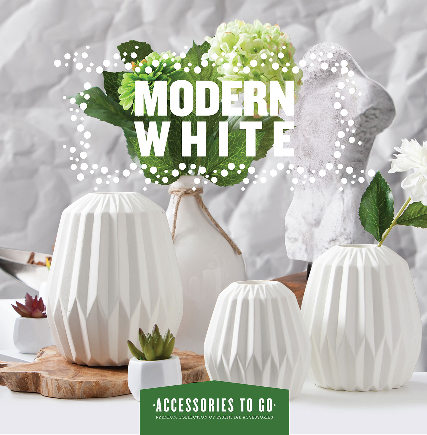 Modern White 14-Piece Accessory Set