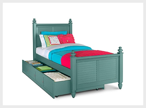 Seaside blue twin bed with trundle