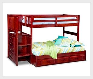Ranger merlot twin/full bunk bed with stairs and 7-drawer storage