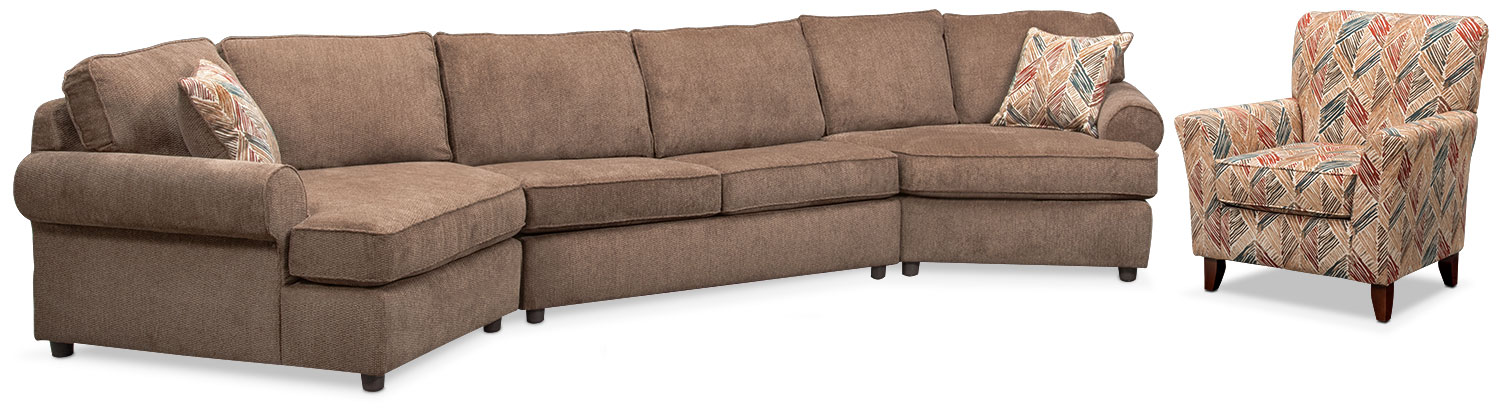 Living Room Furniture - Lakelyn 3-Piece Sectional with 2 Cuddlers and Accent Chair - Cocoa