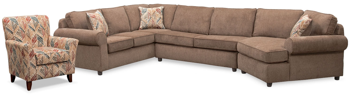 Living Room Furniture - Lakelyn 3-Piece Sectional with Right-Facing Cuddler and Accent Chair - Cocoa