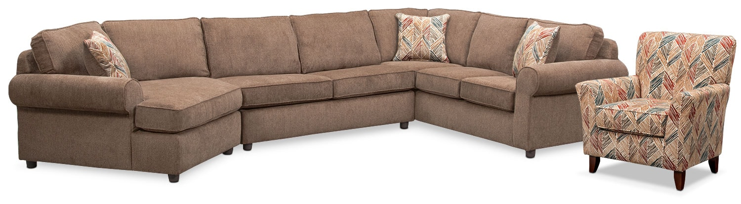 Living Room Furniture - Lakelyn 3-Piece Sectional with Left-Facing Cuddler and Accent Chair - Cocoa