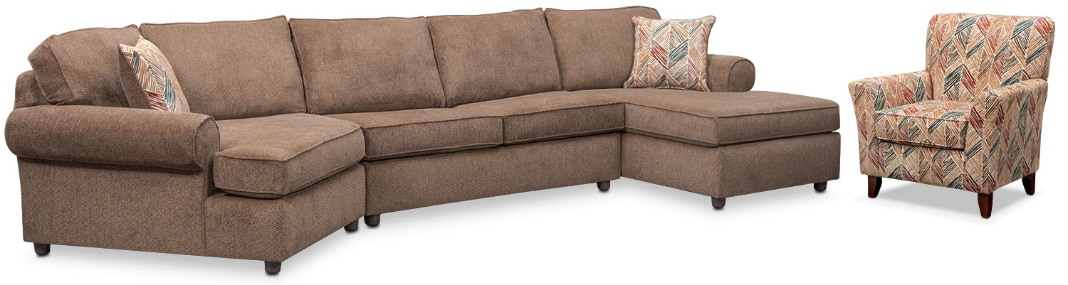 Living Room Furniture - Lakelyn 3-Piece Sectional with Left-Facing Cuddler, Right-Facing Chaise and Accent Chair - Cocoa