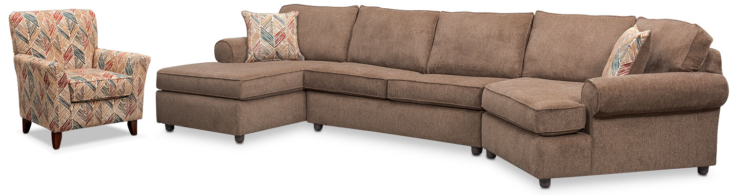 Lakelyn 3-Piece Sectional with Left-Facing Chaise, Right-Facing Cuddler and Accent Chair - Cocoa