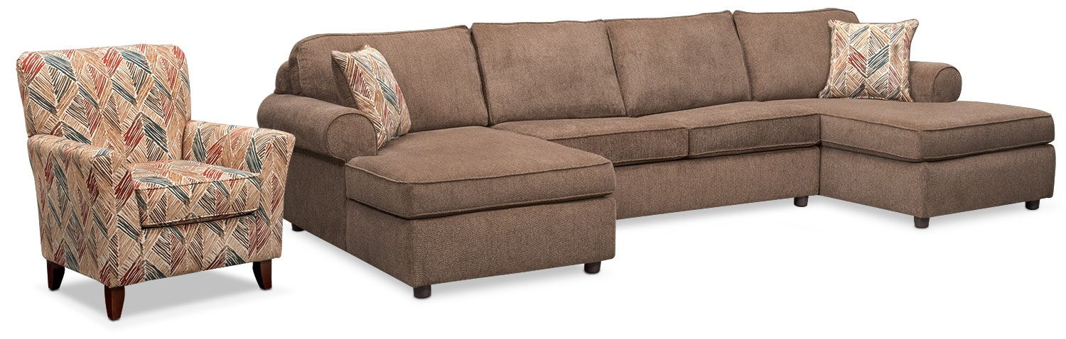 Living Room Furniture - Lakelyn 3-Piece Sectional with 2 Chaises and Accent Chair - Cocoa