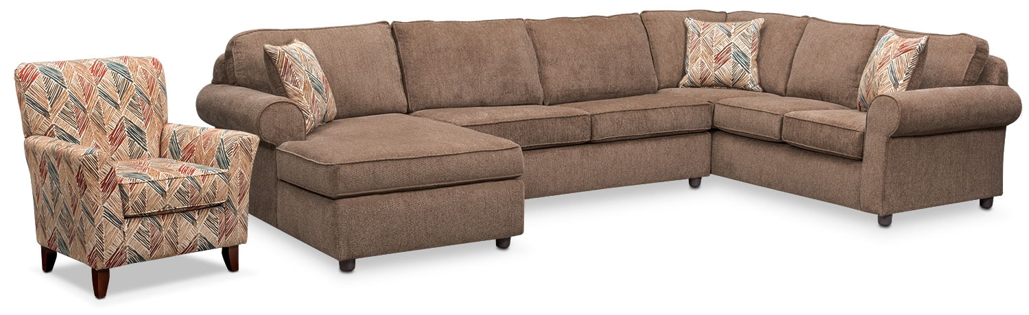 Lakelyn 3-Piece Sectional with Left-Facing Chaise and Accent Chair - Cocoa