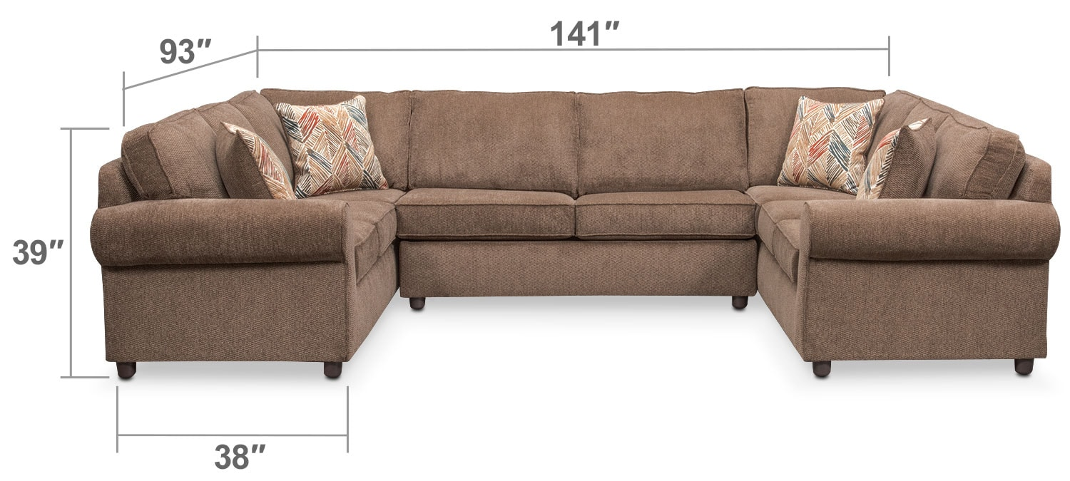 Living Room Furniture - Lakelyn 3-Piece Sectional - Cocoa