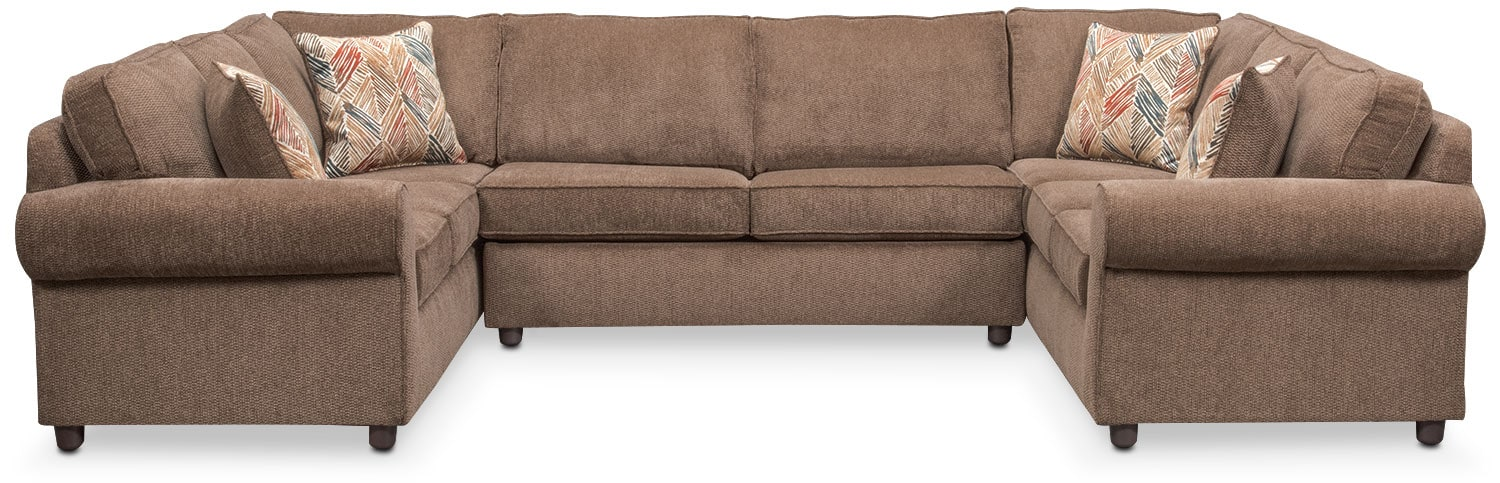 Lakelyn 3-Piece Memory Foam Sleeper Sectional - Cocoa