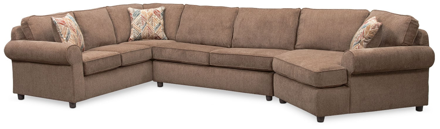 Living Room Furniture - Lakelyn 3-Piece Sectional with Right-Facing Cuddler - Cocoa