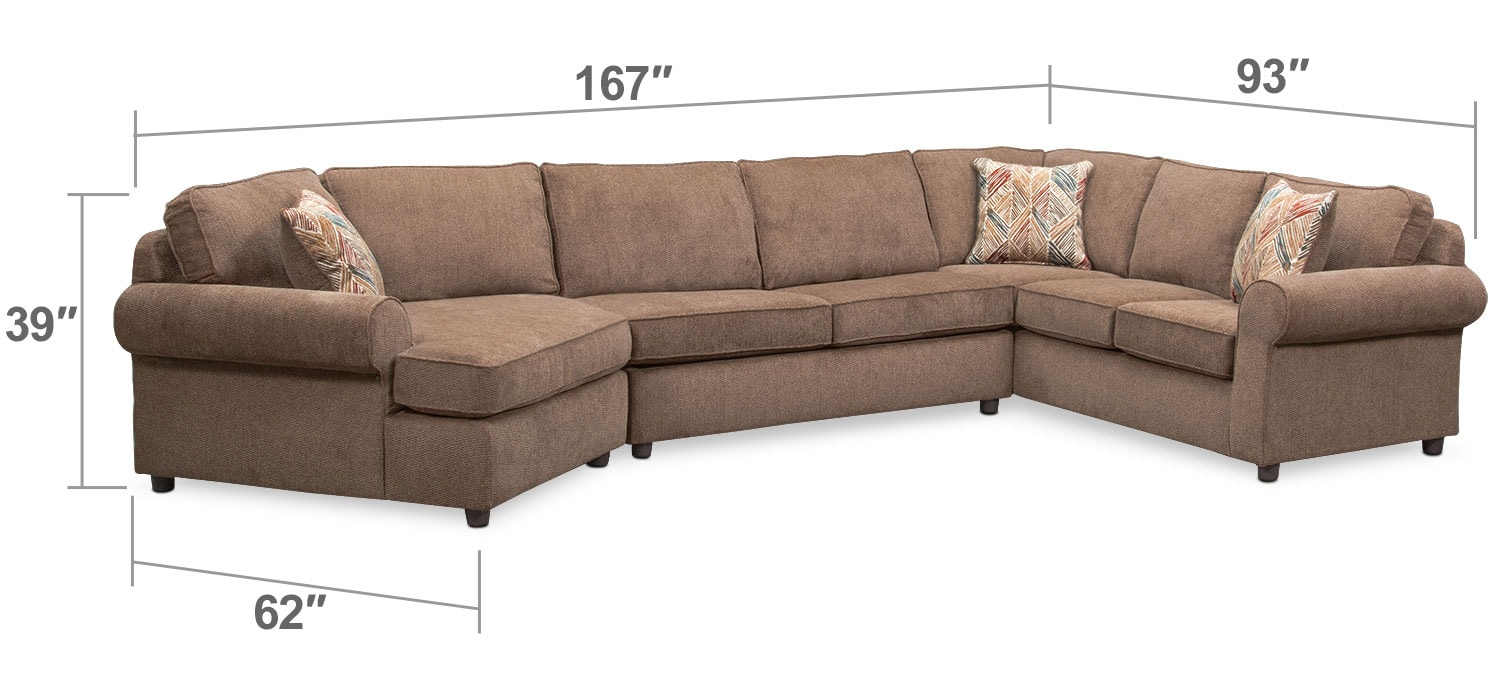 Living Room Furniture - Lakelyn 3-Piece Memory Foam Sleeper Sectional with Left-Facing Cuddler - Cocoa