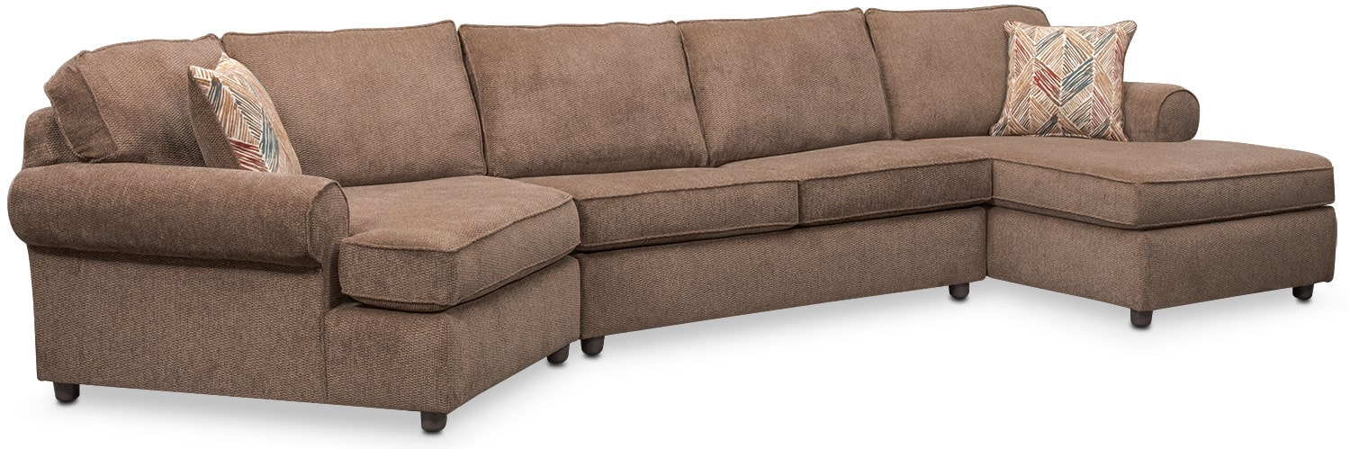 Living Room Furniture - Lakelyn 3-Piece Memory Foam Sleeper Sectional with Left-Facing Cuddler and Right-Facing Chaise-Cocoa