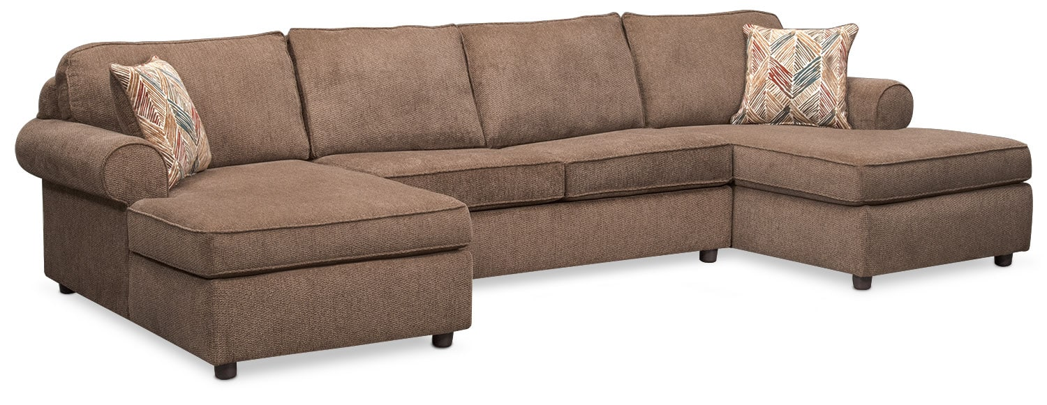 Living Room Furniture - Lakelyn 3-Piece Sectional with 2 Chaises - Cocoa