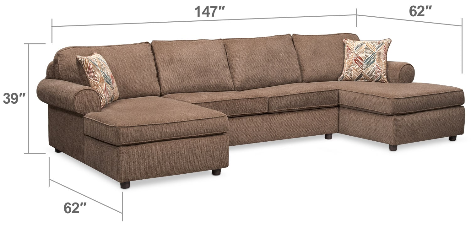 Living Room Furniture - Lakelyn 3-Piece Memory Foam Sleeper Sectional with 2 Chaises - Cocoa