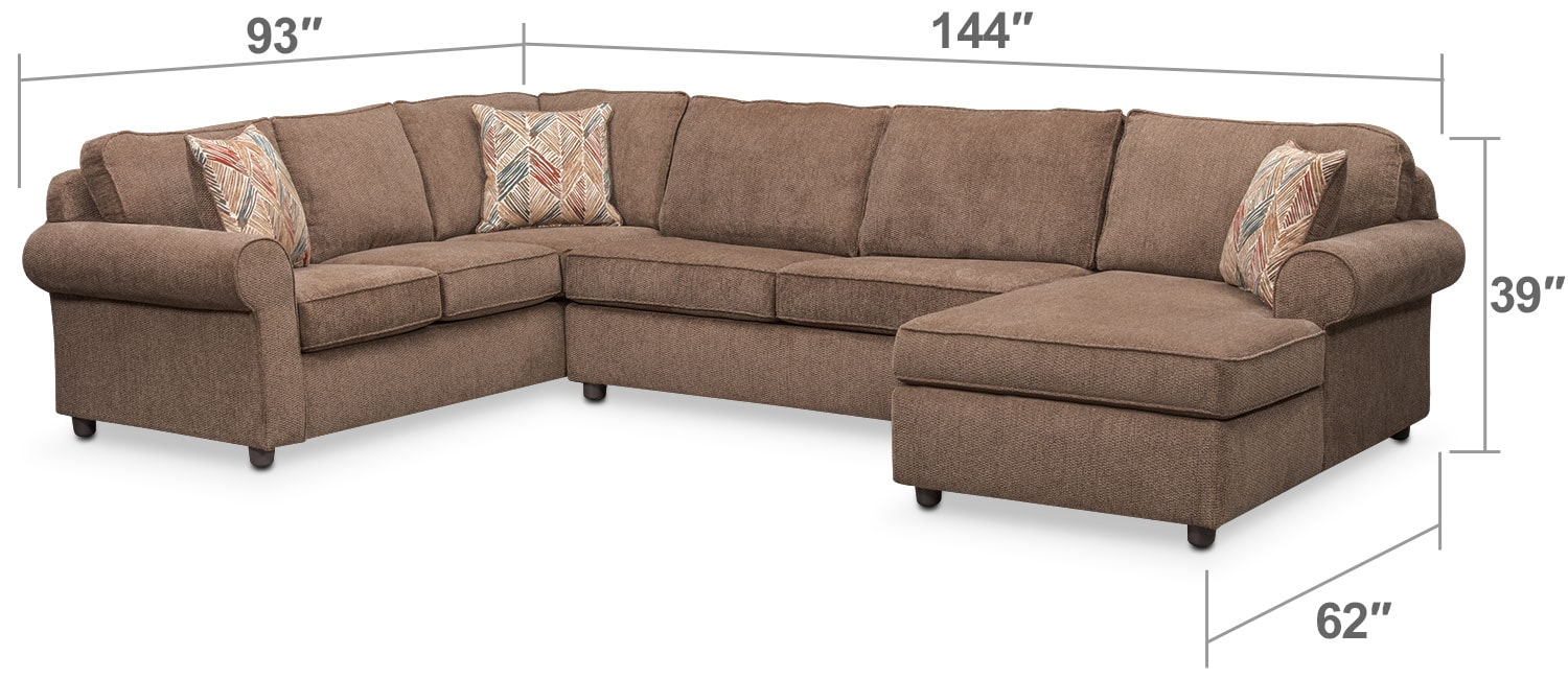 Living Room Furniture - Lakelyn 3-Piece Memory Foam Sleeper Sectional with Right-Facing Chaise - Cocoa