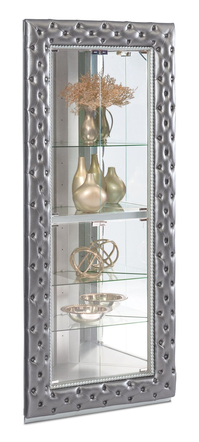 LaSalle Corner Curio Pewter Value City Furniture