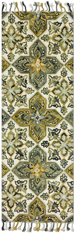 Rugs - Brushstroke 3' x 8' Rug - Ivory/Emerald