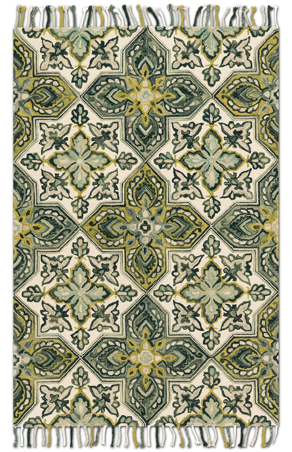 Brushstroke 4' x 6' Rug - Ivory and Emerald