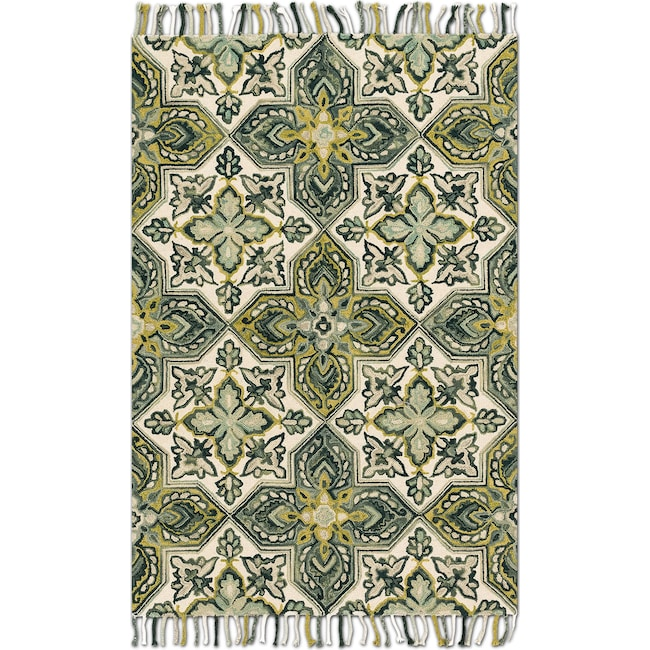 Rugs - Brushstroke 4' x 6' Rug - Ivory and Emerald