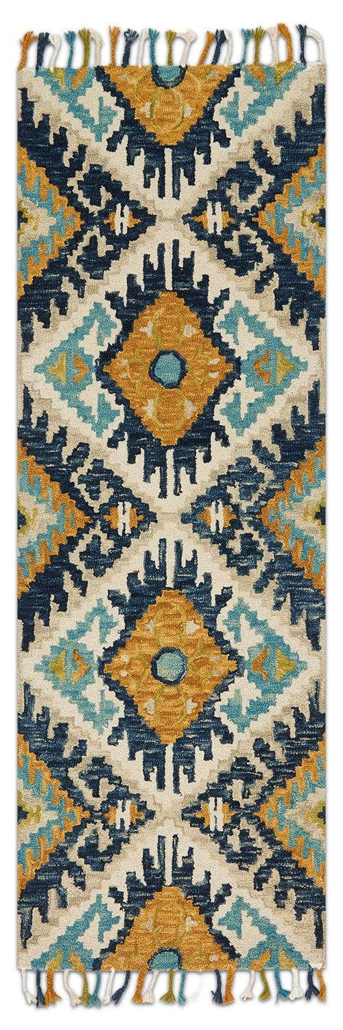 Rugs - Brushstroke 3' x 8' Rug - Ivory and Marine