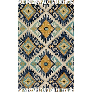 Brushstroke 5' x 8' Rug - Ivory and Marine