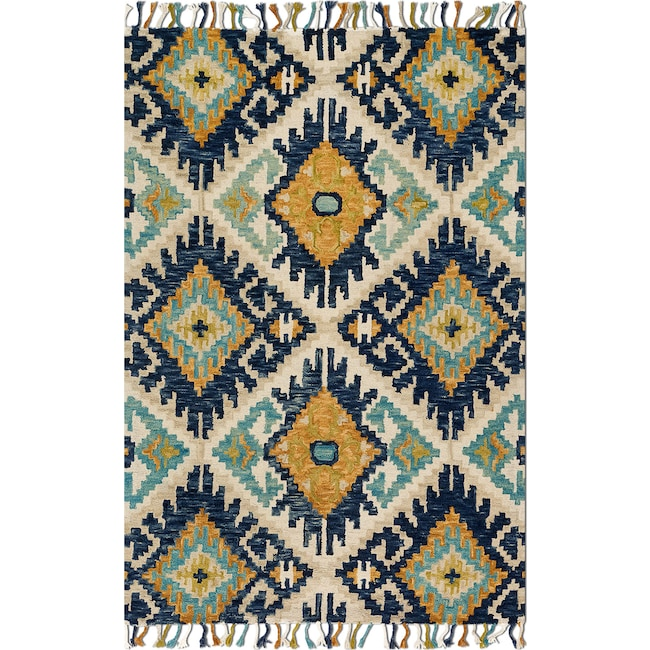 Rugs - Brushstroke 5' x 8' Rug - Ivory and Marine