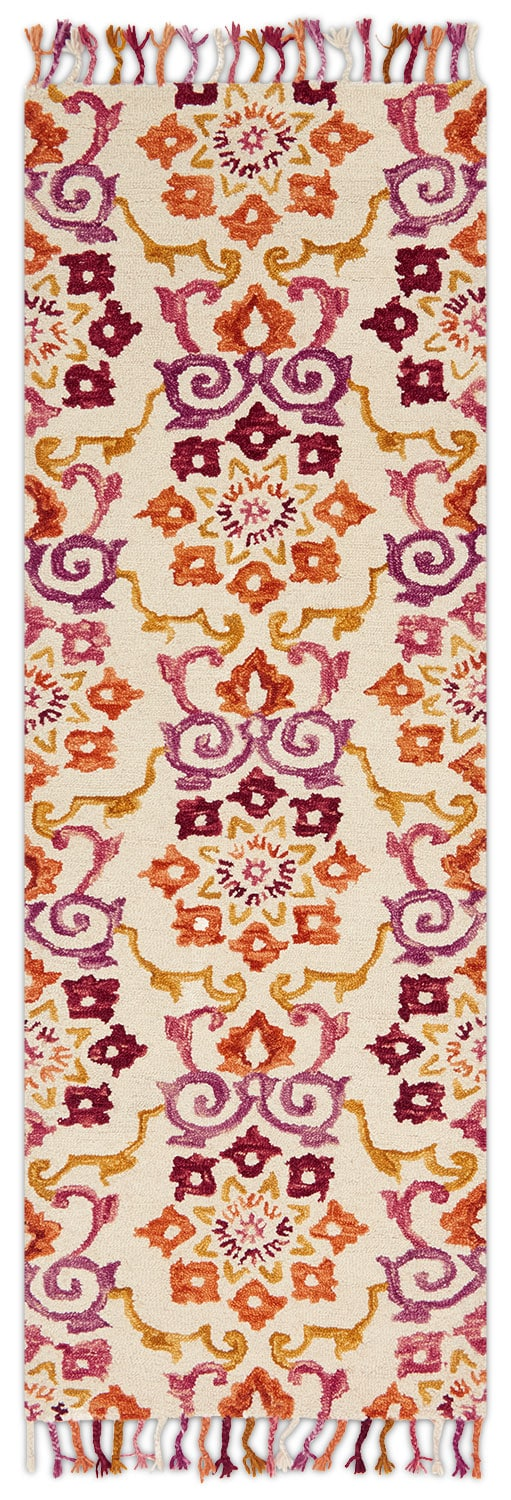 Rugs - Brushstroke 3' x 8' Rug - Ivory and Berry