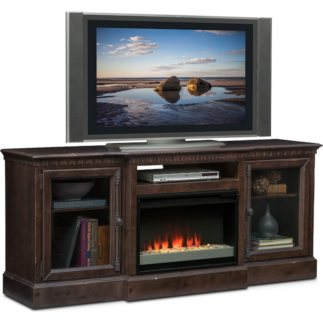 "Entertainment Furniture - Claridge 74"" Contemporary Fireplace Media Stand - Tobacco"